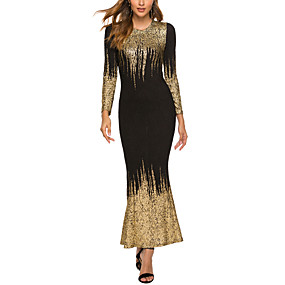 cheap Party Dresses-Women's Plus Size Daily Wear Basic 1920s Maxi Slim Flapper Dress - Abstract The Great Gatsby Black White Silver S M L XL