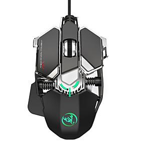 olcso Egér-HXSJ J600 Vezetékes USB Optikai Gaming Mouse / Office Mouse Többszínű háttérvilágítás 6400 dpi 4 állítható DPI szint 9 pcs Kulcsok 9 programozható gomb