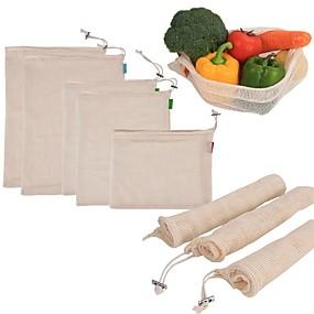 رخيصةأون أدوات & أجهزة المطبخ-1 قطع القطن أكياس الخضروات التي يعاد استخدامها المنزل المطبخ والفواكه والخضروات أكياس شبكة التخزين مع آلة الرباط قابل للغسل