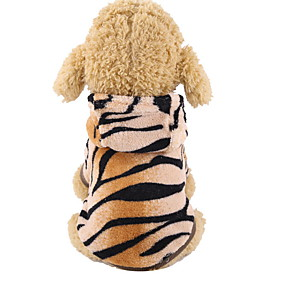 cheap Pet Supplies-Dog Costume Hoodie Solid Colored Tiger Cosplay Cute Holiday Winter Dog Clothes Warm Khaki Costume Polyster XS S M L XL XXL