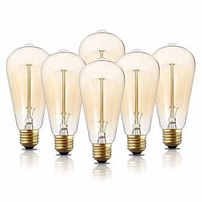 Χαμηλού Κόστους Λαμπτήρες πυράκτωσης-6pcs 40 W E26 / E27 ST64 Θερμό Λευκό 2200 k Λαμπτήρας πυρακτώσεως Vintage Edison 220-240 V / 110-130 V