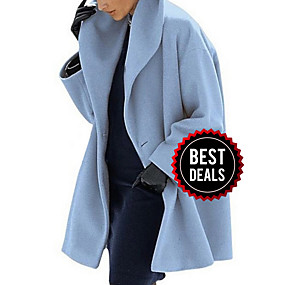 cheap Women's Coats & Trench Coats-Women's Daily Fall & Winter Long Coat, Solid Colored Turndown Long Sleeve Polyester Black / Light Blue / White