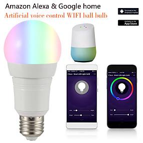 olcso LED gömbbúrás izzók-1db 12 W LED gömbbúrás izzók Okos LED izzók 700 lm E14 B22 E26 / E27 21 LED gyöngyök APP vezérlés Smart Időzítés Multi-szín 85-265 V