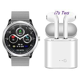 voordelige Slimme polsbandjes-N58 smartwatch roestvrij staal bt fitness tracker ondersteuning ecg ppg hrv / rapport hartslag bloeddruk met gratis draadloze tws hoofdtelefoon
