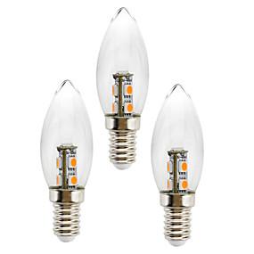 olcso LED gyertyaizzók-3db 1 W LED gyertyaizzók 50 lm E14 C35 7 LED gyöngyök SMD 5050 Dekoratív Meleg fehér Fehér 180-240 V