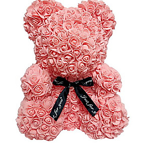 Недорогие Декор из дерева-25см / 40см высота моделирования роза медведь пара медведь кукла игрушка новогоднее украшение вечный цветок подарок романтический день святого валентина