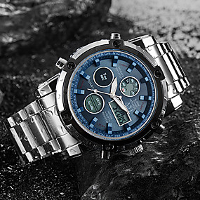 Недорогие Фирменные часы-ASJ Муж. Спортивные часы электронные часы Кварцевые Цифровой Роскошь Защита от влаги Нержавеющая сталь Серебристый металл Аналого-цифровые - Черный / Черный Белый Черный Два года Срок службы батареи