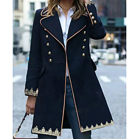 cheap Women's Coats & Trench Coats-Women's Daily Winter Regular Coat, Geometric Peaked Lapel Long Sleeve Polyester Navy Blue