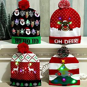 저렴한 나무 장식-led 크리스마스 모자 산타 클로스 순록 눈사람 모자 새해 크리스마스 선물 캡 홈 장식