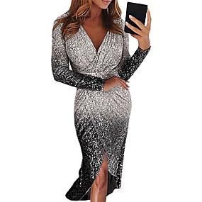 cheap Party Dresses-Women's Party High Low Elegant Asymmetrical Bodycon Sheath Dress - Color Gradient Color Block Sequins Deep V V Neck Black Purple Blushing Pink S M L XL