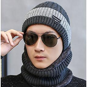 povoljno Modni dodaci za muškarce-Muškarci Color block Osnovni Poliester-Skijaška kapa Crn Navy Plava Sive boje