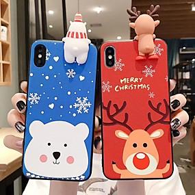 voordelige iPhone 11 Pro Max hoesjes-hoesje voor Apple iPhone 11 / iPhone 11 pro / iPhone 11 pro max / 6 / 6p / 7/8 / 7p / 8p / x / xr / xsmax stofdichte achterkant 3d cartoon / kerst tpu