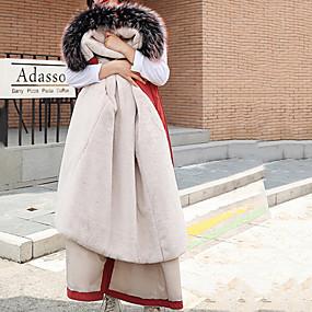 olcso Napi akciók-Női Egyszínű Hosszú Pehely, Poliészter / POLY Fekete / Fehér / Arcpír rózsaszín M / L / XL