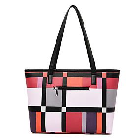 cheap Women's Bags-Women's PU Top Handle Bag Lattice Red / Green / Gray
