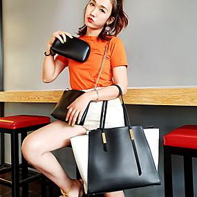 cheap Women's Bags-Women's Zipper PU Bag Set Solid Color 4 Pieces Purse Set Black / Brown / White