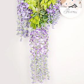 billige Kunstige blomster-12stk kunstige blomster silke wisteria vinstok ratta silke hængende blomst bryllup hjemmeindretning