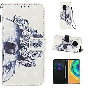 Недорогие Чехлы и кейсы для Huawei Mate-Кейс для Назначение Huawei Huawei P20 / Huawei P20 Pro / Huawei P20 lite Кошелек / Бумажник для карт / со стендом Чехол Черепа Кожа PU / ТПУ