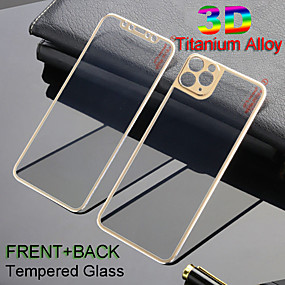 cheap iPhone 11 Pro Screen Protectors-Front  Back 3D Full Cover Alloy Titanium Tempered Glass Film For iPhone 11Pro Max Metal Screen Camrea Lens Protector iPhone X Xs Max 7 8 Plus