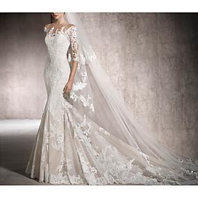 cheap Wedding Dresses-Mermaid / Trumpet Jewel Neck Chapel Train Lace Half Sleeve Illusion Sleeve Wedding Dresses with Beading / Lace Insert 2020
