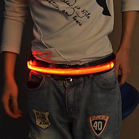 baratos Equipamento Refletor-Cinto Refletor LED Luminoso para Corrida Ciclismo Tecido Branco Vermelho Azul Botão Bateria Alimentada