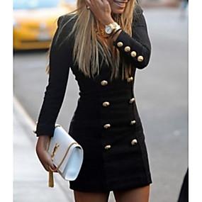 povoljno Novo u ponudi-Žene Mini Crn Haljina Ulični šik Izlasci Rad Korice Jednobojni Duboki V Dugme S M