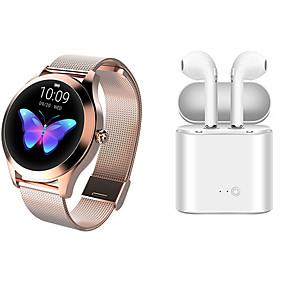povoljno Smart Wristbands-kw10 smartwatch od nehrđajućeg čelika bt fitness tracker s tws bežičnim slušalicama podrška notify / puls monitor sport pametni sat kompatibilni ios / android telefoni