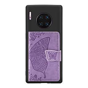 Недорогие Чехлы и кейсы для Huawei Mate-Кейс для Назначение Huawei Huawei Nova 4 / Huawei nova 4e / Mate 10 lite Бумажник для карт / со стендом / Ультратонкий Кейс на заднюю панель Бабочка Кожа PU / ТПУ