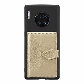 Недорогие Чехлы и кейсы для Huawei Mate-Кейс для Назначение Huawei Huawei Nova 4 / Huawei nova 4e / Mate 10 lite Бумажник для карт / со стендом / Ультратонкий Кейс на заднюю панель Однотонный Кожа PU / ТПУ