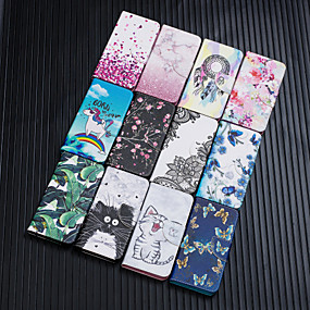 Недорогие Чехлы и кейсы для Galaxy Note 8-Кейс для Назначение SSamsung Galaxy S9 / S9 Plus / S8 Plus Кошелек / Бумажник для карт / Защита от удара Чехол Кот / Бабочка / Цветы Кожа PU