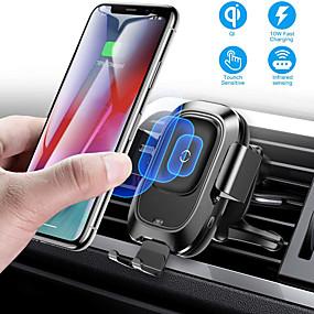 voordelige Winkel per telefoonmodel-baseus qi auto draadloze oplader luchtopening automatische houder voor iphone 8 plus xr x xs max samsung galaxy s10 s10 + s10e s9 s8 intelligente infraroodsensor snel draadloos opladen