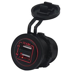 Недорогие Автомобильные зарядные устройства-5v 4.8a светодиодный свет двойной разъем зарядного устройства USB водонепроницаемый дизайн ip66 Dual USB порт автомобильное зарядное устройство отличные аксессуары для почти всех автомобилей 12v-24v
