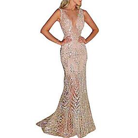 cheap Party Dresses-Fashion Glitter Dresses Women's Elegant Trumpet / Mermaid Dress - Solid Colored Sequins Gold Silver L XL XXL