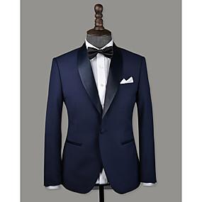 levne Vlastní Tuxedo-námořnická modrá vlna vlastní smoking