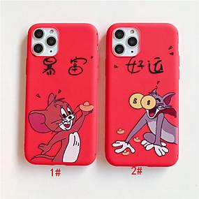olcso iPhone 8 Plus tokok-Case Kompatibilitás Apple iPhone 11 / iPhone 11 Pro / iPhone 11 Pro Max Minta Fekete tok Állat / Rajzfilm TPU