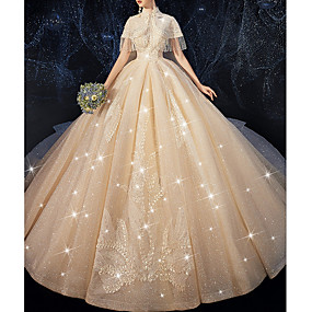 cheap Wedding Dresses-A-Line High Neck Chapel Train Lace Short Sleeve Wedding Dresses with Beading / Lace Insert / Appliques 2020