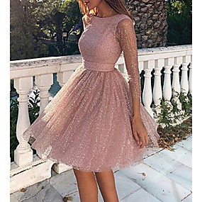 cheap Party Dresses-Women's Crochet Daily Cocktail Party Casual Sexy Loose Skater Sweater Dress - Solid Colored Backless Knitted Spring Blushing Pink S M L XL