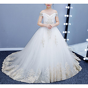 cheap Flower Girl Dresses-Ball Gown Court Train Flower Girl Dress - Tulle Short Sleeve Off Shoulder with Lace