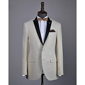 levne Vlastní Tuxedo-béžová vlna na zakázku smokingu