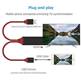 cheap Apple-1080P AV Adapter Accessories HDMI Cable Plug And Play Phone To TV Tablets Sync Screen Wire Line Smart HD For IPhone 6 7 8 X