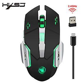 olcso Egér-HXSJ M70 Vezeték nélküli 2.4G Optikai Office Mouse / töltés egér Led lélegzetvilágítás 2400 dpi 3 állítható DPI szint 6 pcs Kulcsok