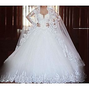 cheap Wedding Dresses-A-Line V Neck Floor Length Tulle Long Sleeve Illusion Sleeve Wedding Dresses with Lace 2020