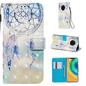 Недорогие Чехлы и кейсы для Huawei Mate-Кейс для Назначение Huawei Huawei P20 / Huawei P20 Pro / Huawei P20 lite Кошелек / Бумажник для карт / со стендом Чехол Перья Кожа PU / ТПУ