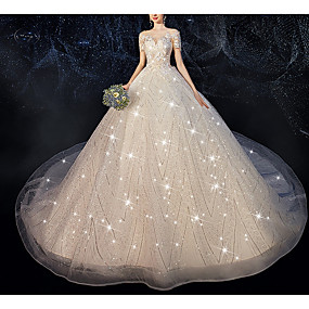 cheap Wedding Dresses-Ball Gown Jewel Neck Court Train Polyester / Sequined Short Sleeve Wedding Dresses with Appliques 2020