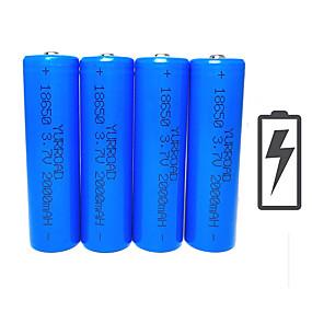 povoljno Svjetiljke-Li-ion 18650 baterija 2000 mAh 4kom 3.7 V Može se puniti Kompaktna veličina Hitan za Outdoor Baterijska svjetiljka Bike Light Camping & planinarenje Lov Ribolov Plav / Biciklizam / Bicikl