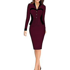 cheap New Arrivals-Women's Daily Wear Elegant Sheath Dress - Solid Colored Wine White Blushing Pink S M L XL