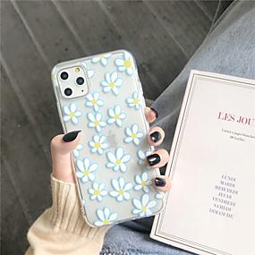 olcso iPhone 8 Plus tokok-Case Kompatibilitás Apple iPhone 11 / iPhone 11 Pro / iPhone 11 Pro Max Átlátszó / Minta Fekete tok Virág TPU