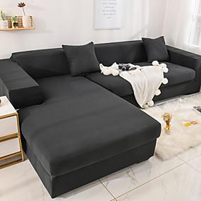 baratos Têxteis Para a Casa-capa de sofá esticar capa de sofá barata 1 peça cinza macio durável slipcovers spandex tecido jacquard lavável protetor de móveis poltrona loveseat l-shape