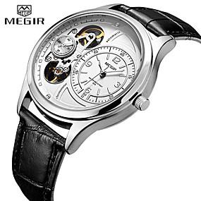 voordelige Klassieke Horloge-MEGIR Heren Dress horloge Kwarts Formele Stijl Moderne Style PU-leer 30 m Waterbestendig Hol Gegraveerd Drie tijdzones Analoog Modieus Skelet - Zwart Wit Goud