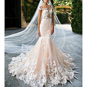 cheap Wedding Dresses-Mermaid / Trumpet V Neck Sweep / Brush Train Lace Regular Straps Wedding Dresses with Embroidery 2020