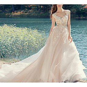 cheap New Arrivals-A-Line V Neck Court Train Polyester Regular Straps Made-To-Measure Wedding Dresses with Appliques / Bow(s) 2020